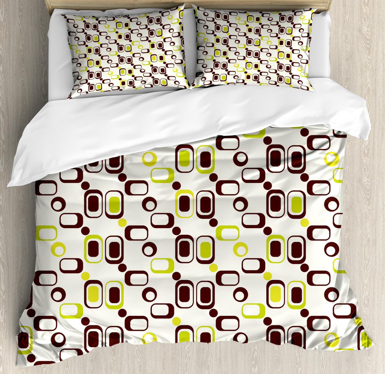 Geometric Duvet Cover Set with Pillow Shams Geometrical Vintage Print