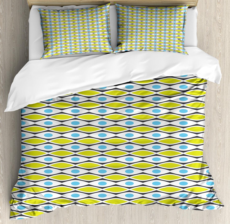 Geometric Duvet Cover Set with Pillow Shams Vivid Dots Shapes Print