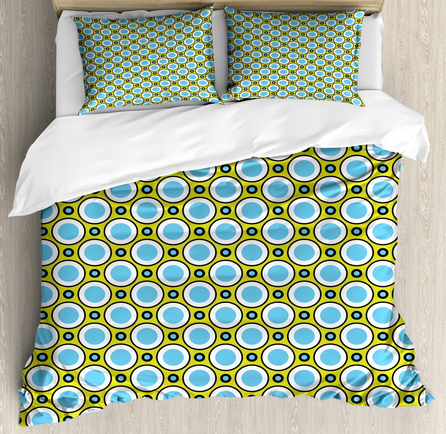 Geometric Duvet Cover Set with Pillow Shams Retro Circle and Dots Print