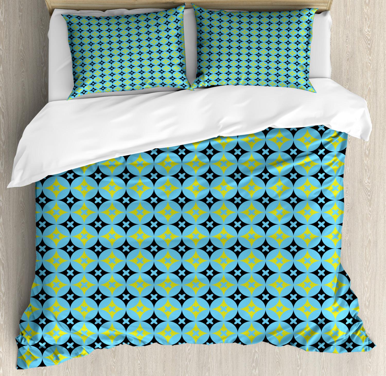 Geometric Duvet Cover Set with Pillow Shams Stars Vivid Circles Print