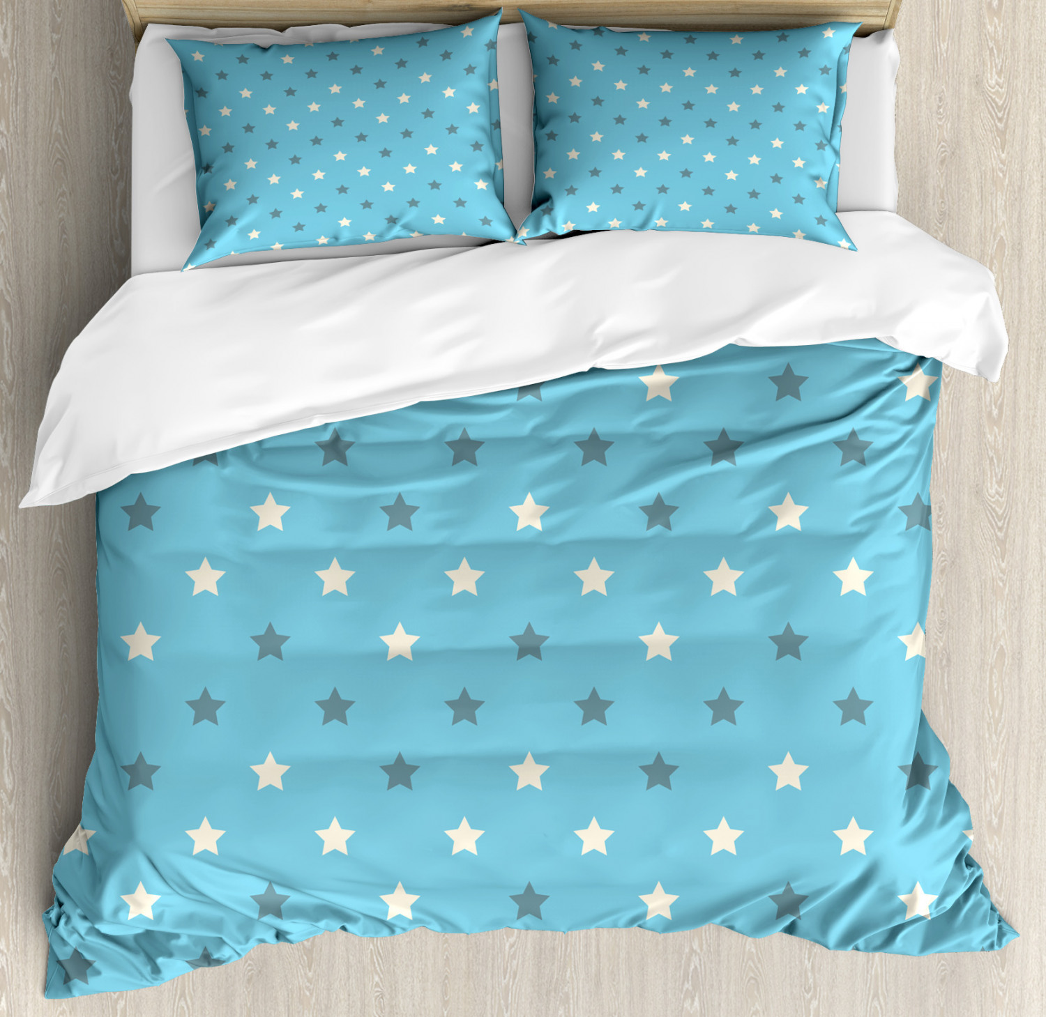 Geometric Duvet Cover Set with Pillow Shams Zigzag Star Pattern Print