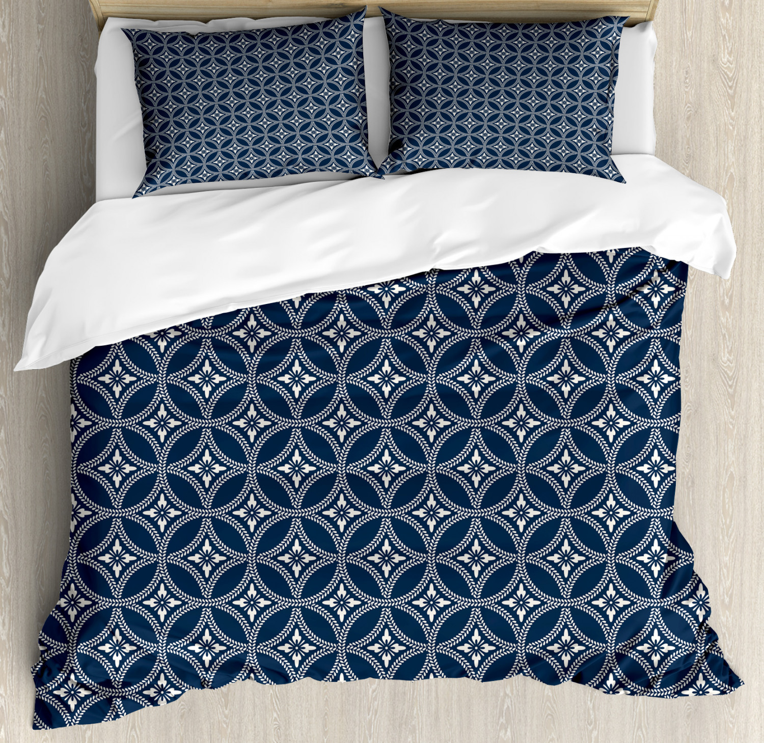 Geometric Duvet Cover Set with Pillow Shams Japanese Lotus Circle Print