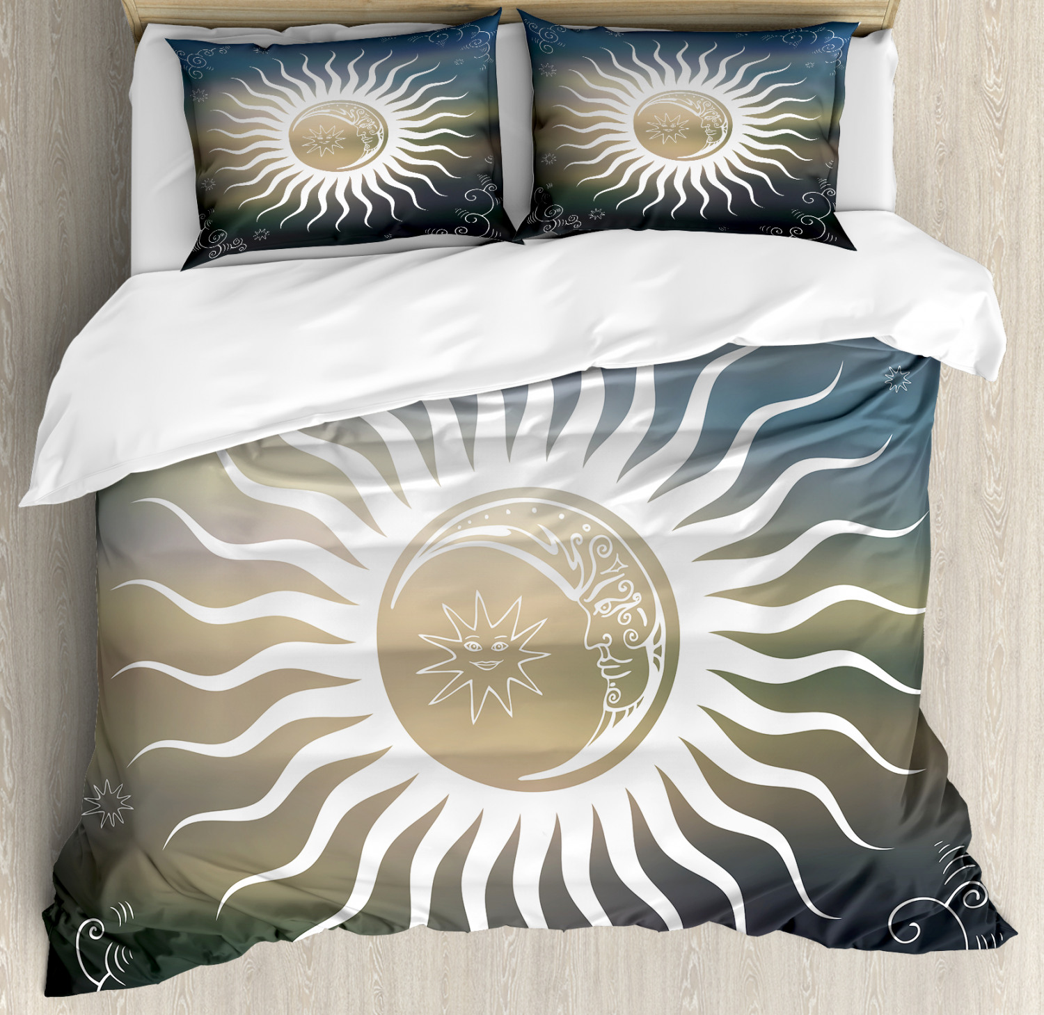 Sun Duvet Cover Set with Pillow Shams Celestial Body Silhoue