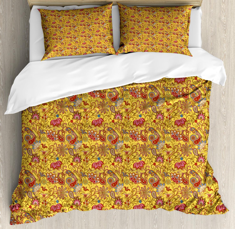 Asian Duvet Cover Set with Pillow Shams Paisleys Flowers Leaves Print