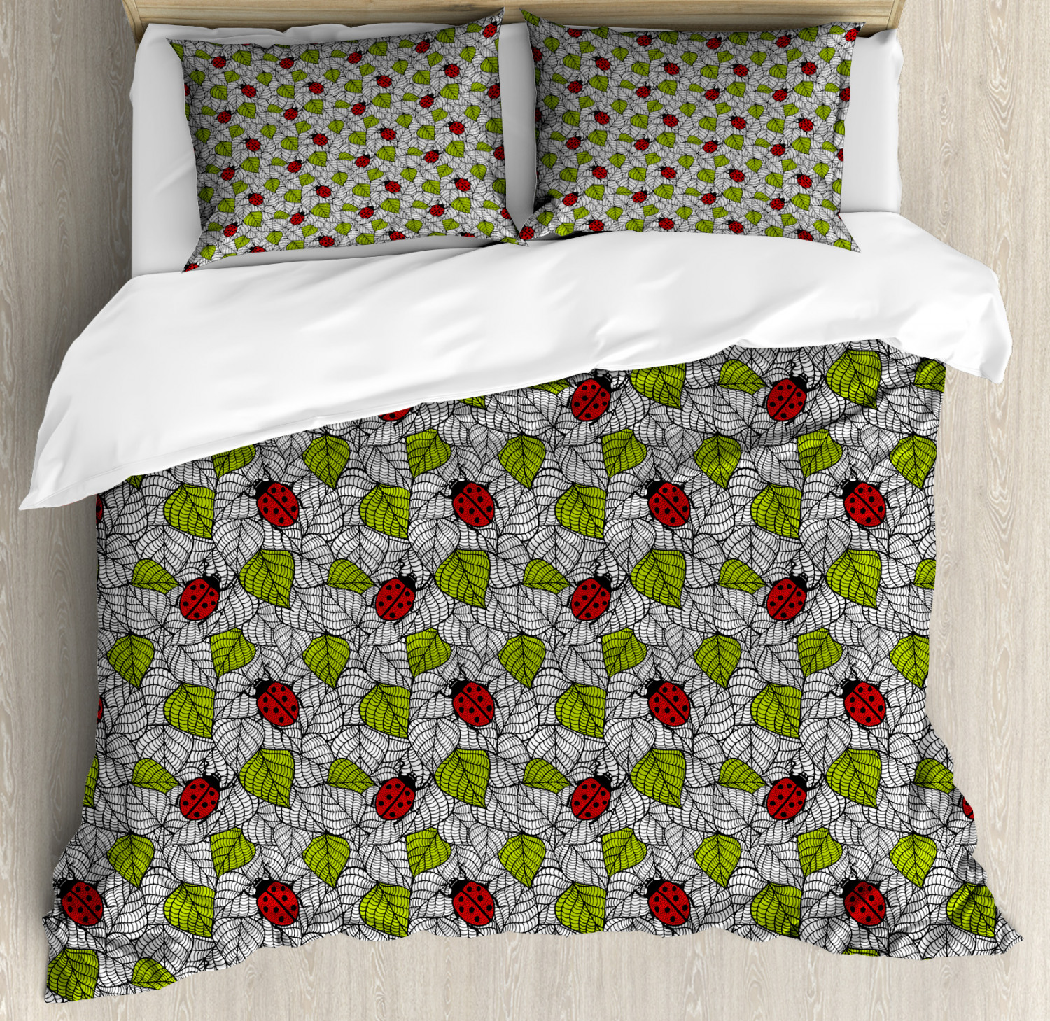 Ladybugs Duvet Cover Set with Pillow Shams Ecological Inspiration Print