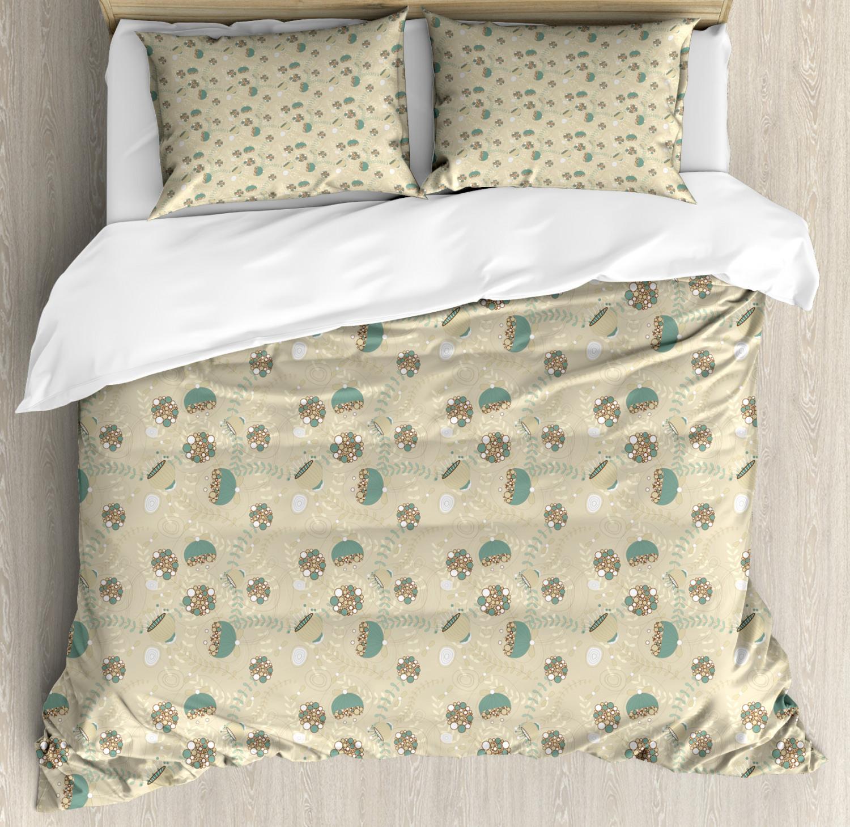 Vintage Duvet Cover Set with Pillow Shams Floral Artistic Ornate Print