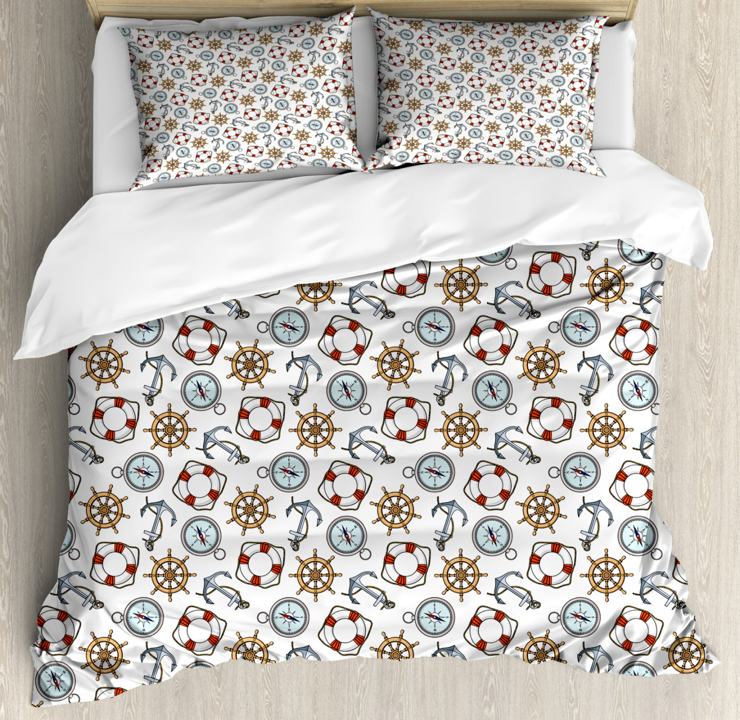 Compass Duvet Cover Set with Pillow Shams Helm Life Buoy Anchor Print