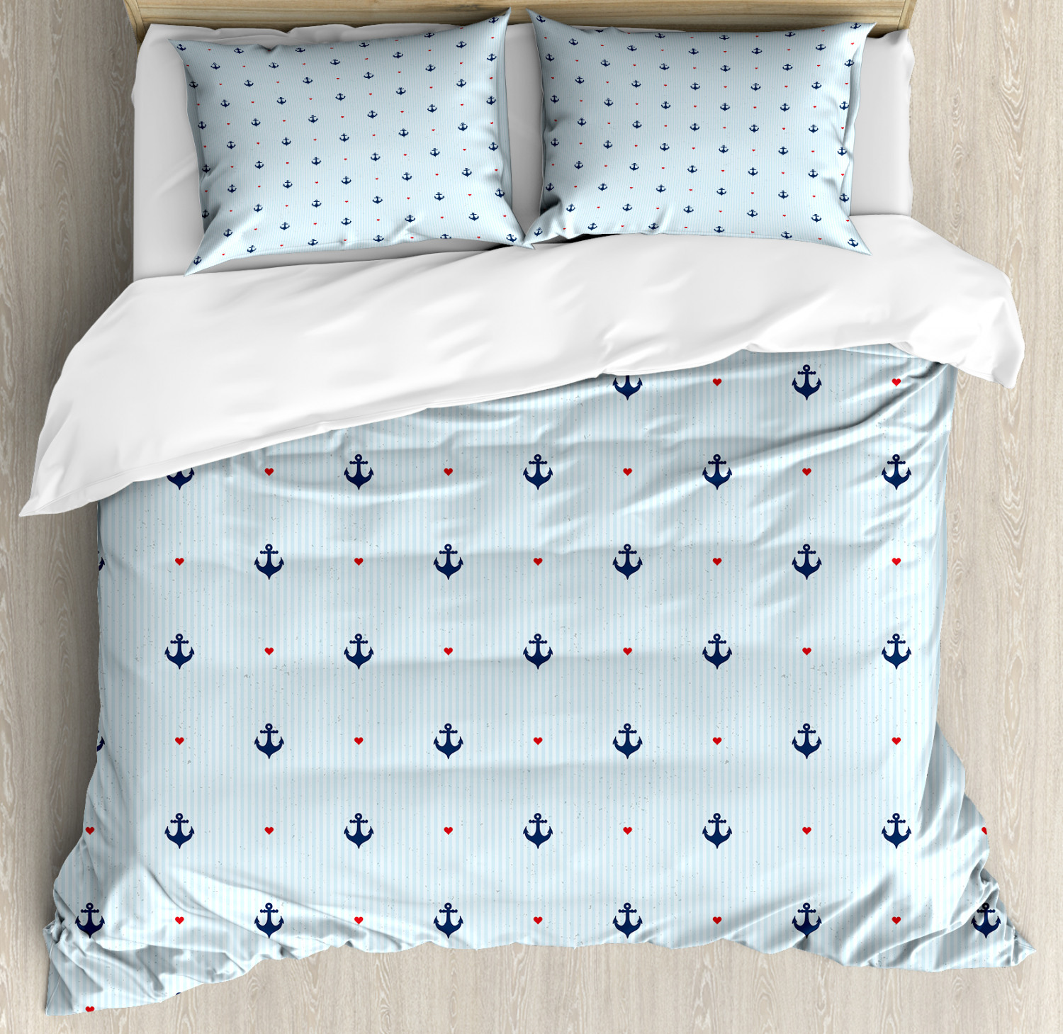 Anchor Duvet Cover Set with Pillow Shams Red Hearts Nautical Print