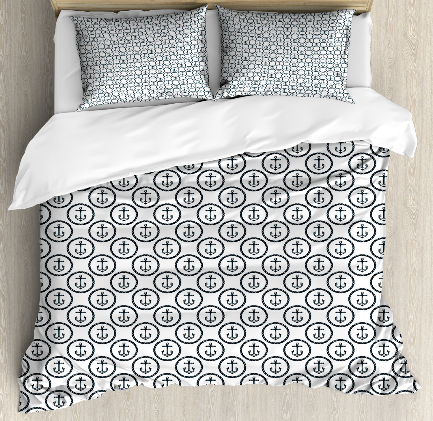 Anchor Duvet Cover Set with Pillow Shams Circular Rope Frame