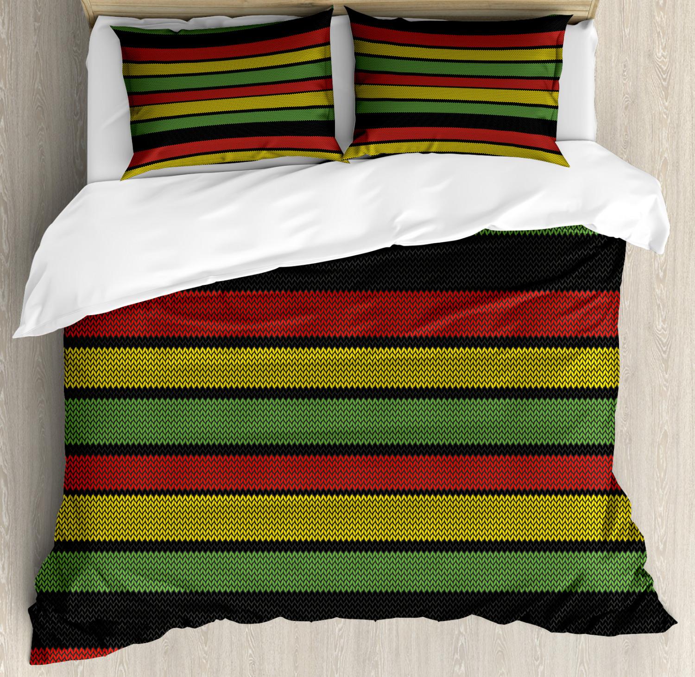 Jamaican Duvet Cover Set with Pillow Shams Knitted Rasta Lin