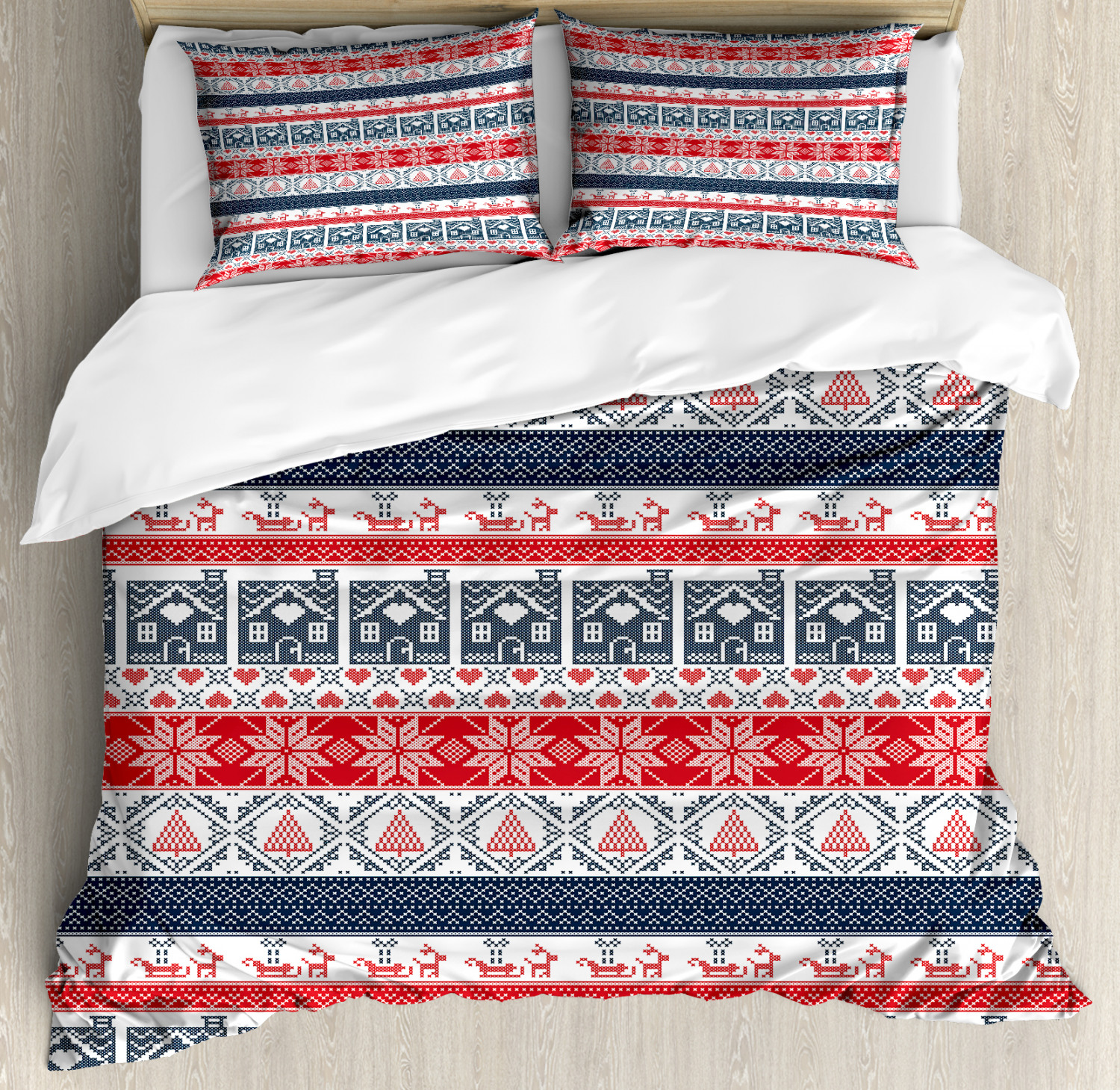 Nordic Duvet Cover Set with Pillow Shams Scandinavian Stitch