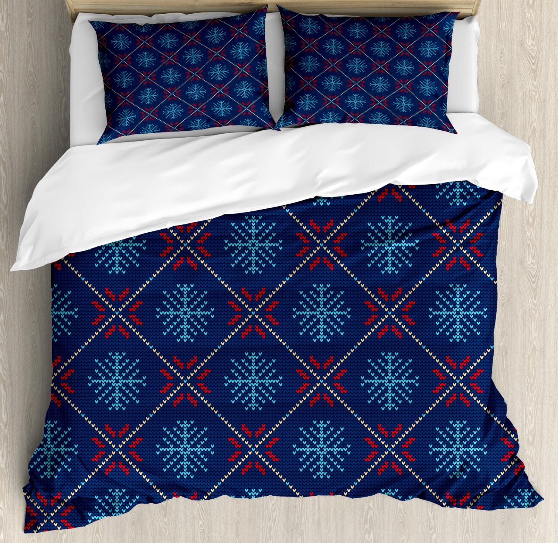 Nordic Duvet Cover Set with Pillow Shams Vintage Snowflake Motifs Print
