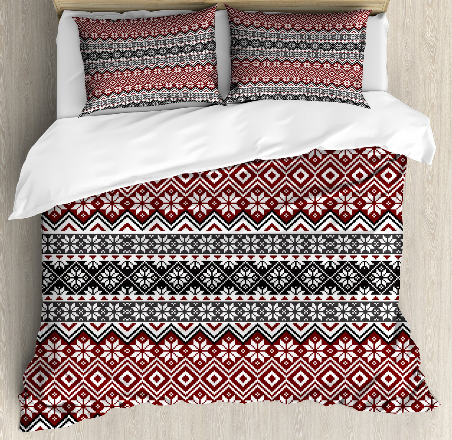 Nordic Duvet Cover Set with Pillow Shams Cultural Christmas Theme Print