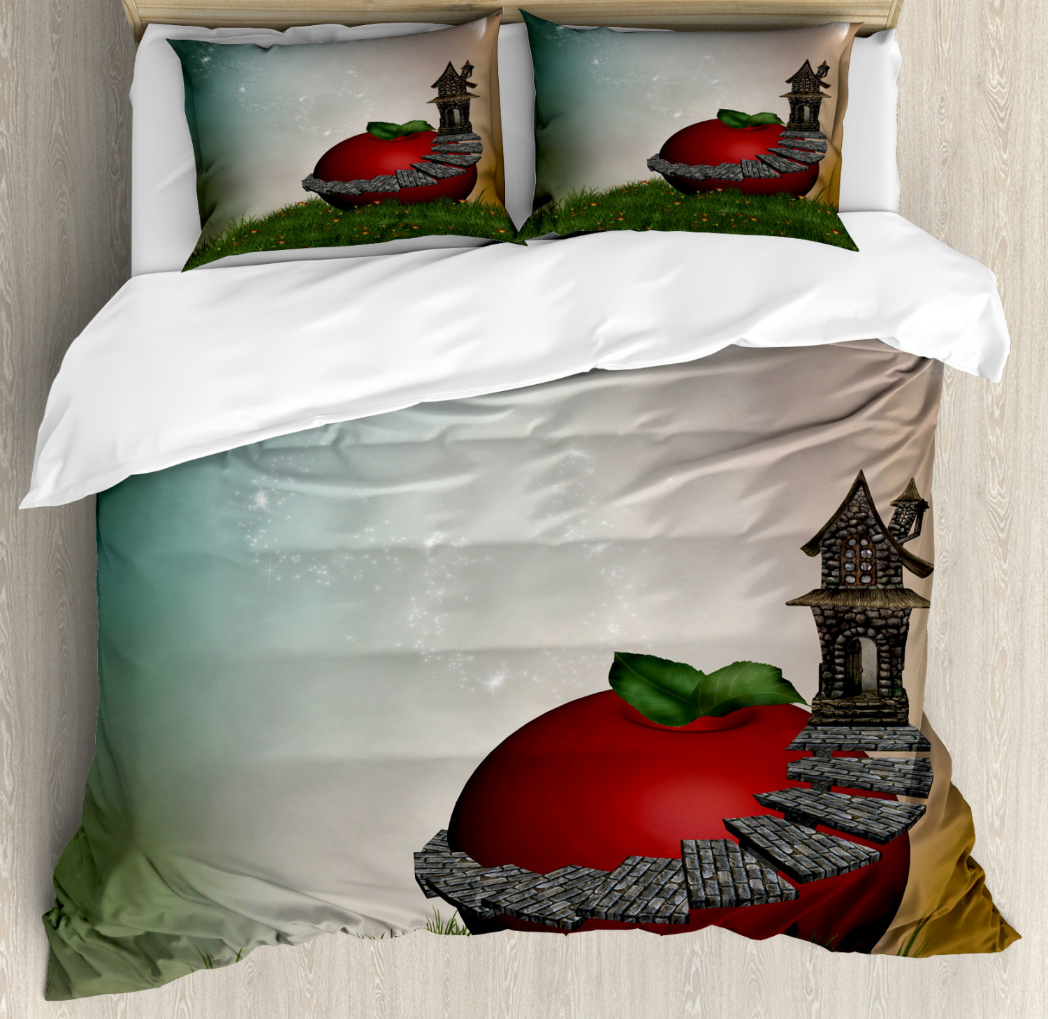 Fantasy Duvet Cover Set with Pillow Shams Magic Apple with House Print