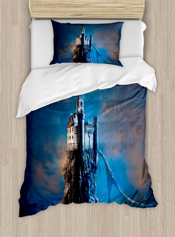 Fantasy-Duvet-Cover-Set-with-Pillow-Shams-Ancient-Castle-Hill-Top-Print thumbnail 6