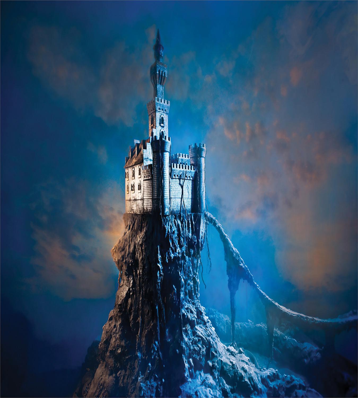 Fantasy-Duvet-Cover-Set-with-Pillow-Shams-Ancient-Castle-Hill-Top-Print thumbnail 3
