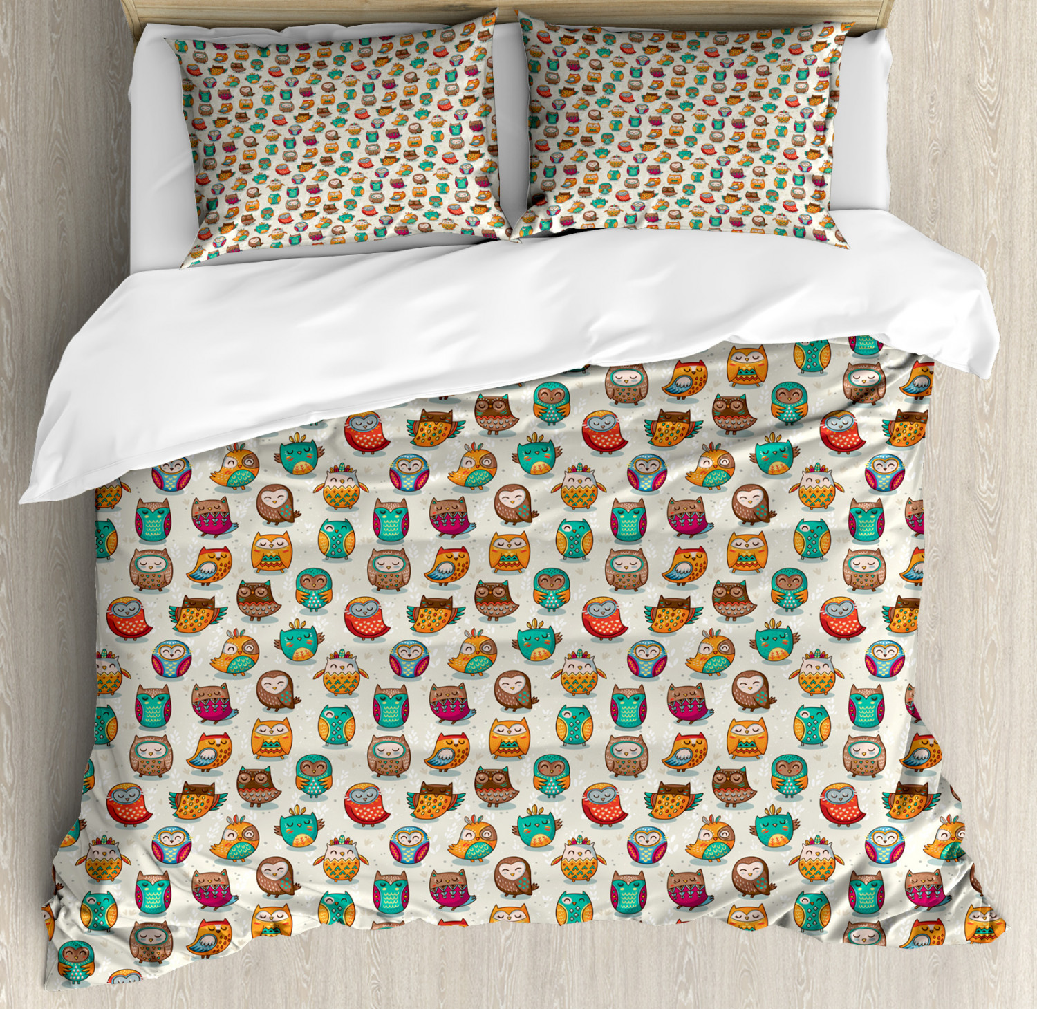 Owls Duvet Cover Set with Pillow Shams Cheerful Cartoon Native Print