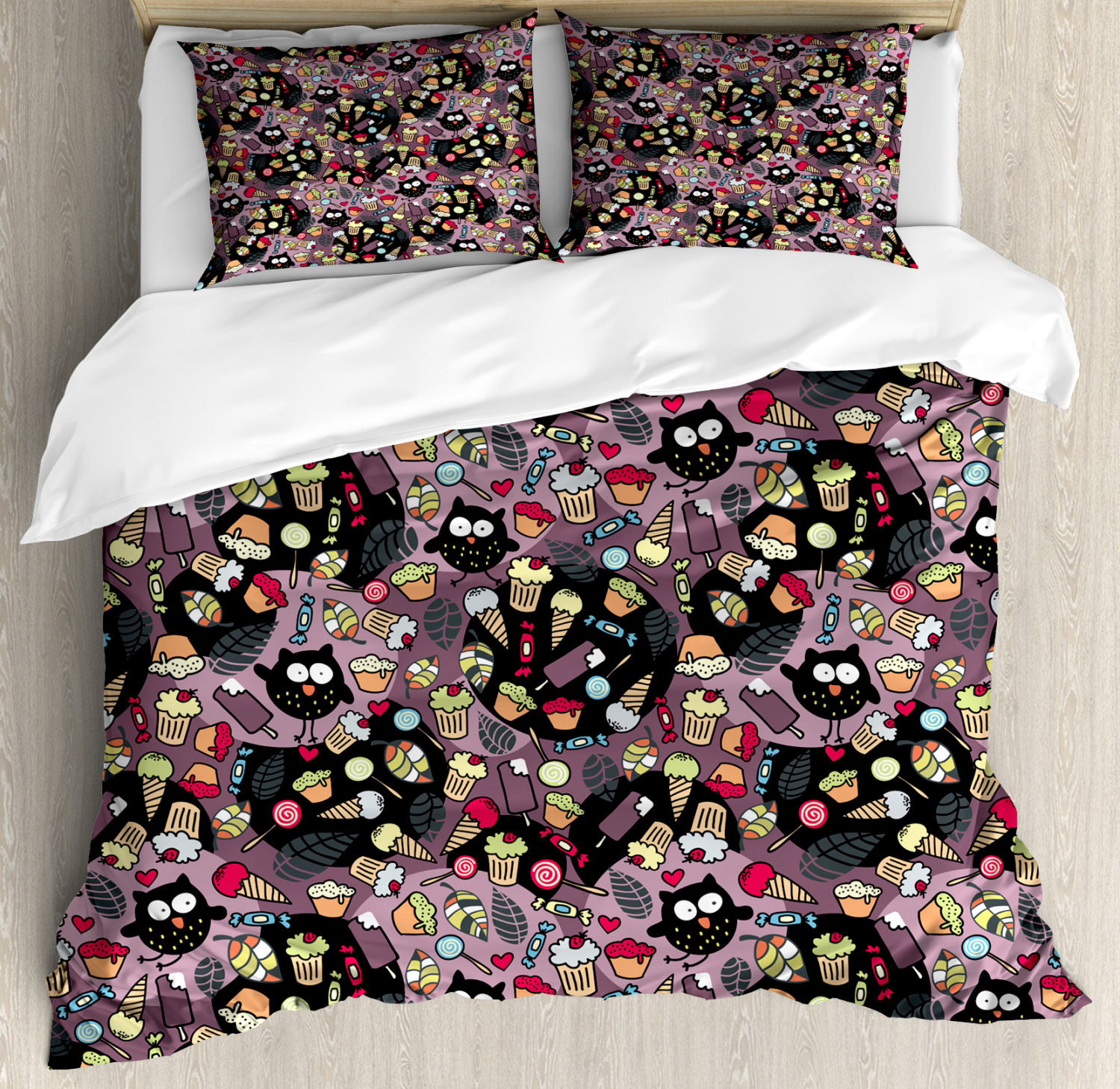 Owls Duvet Cover Set with Pillow Shams Crazy Birds Tasty Cupcakes Print