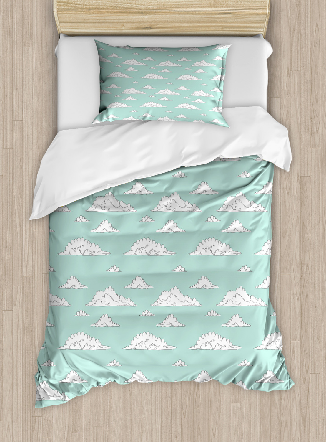 Teal-and-White-Duvet-Cover-Set-Twin-Queen-King-Sizes-with-Pillow-Shams-Ambesonne thumbnail 8