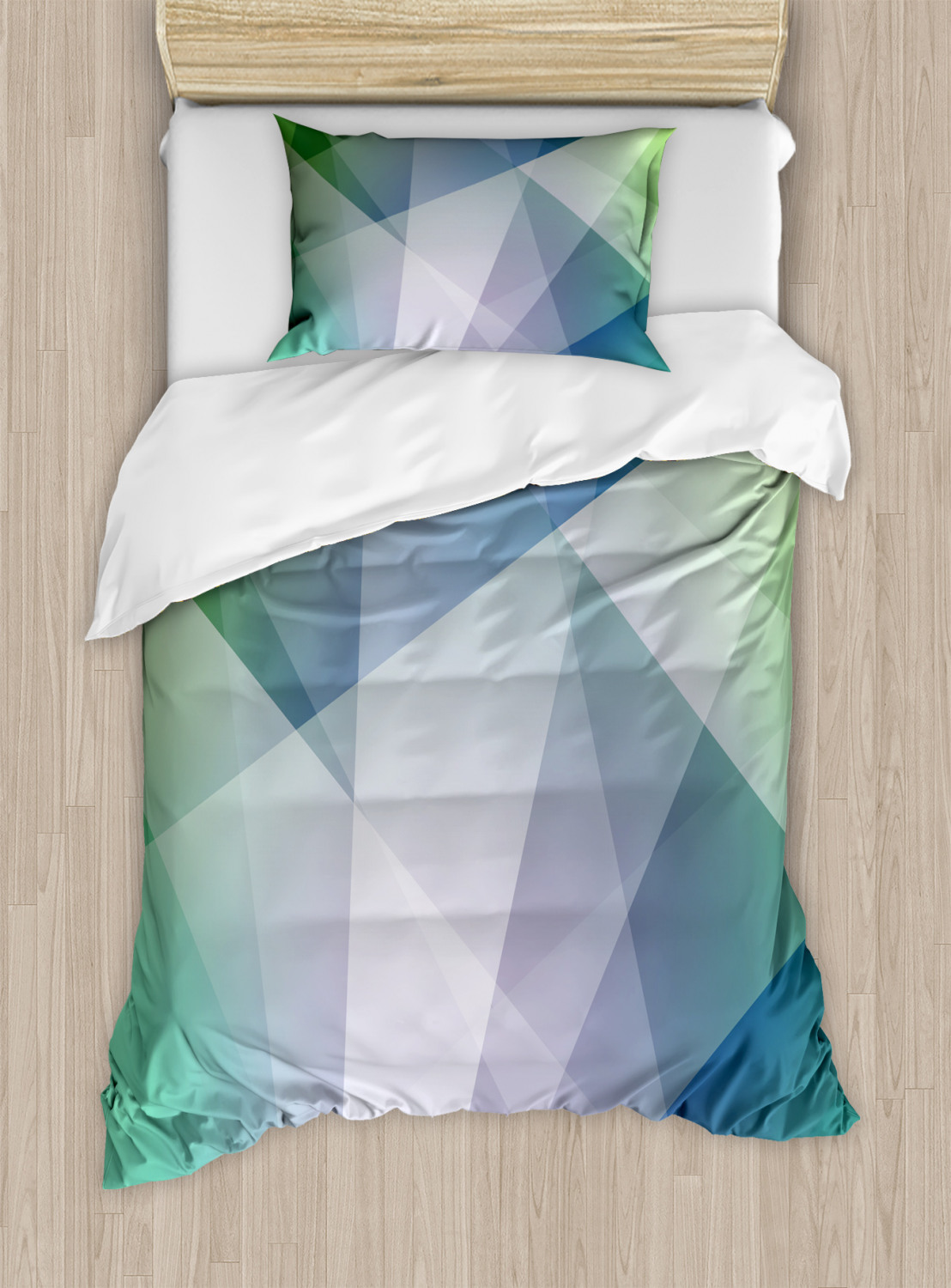 Teal-and-White-Duvet-Cover-Set-Twin-Queen-King-Sizes-with-Pillow-Shams-Ambesonne thumbnail 2