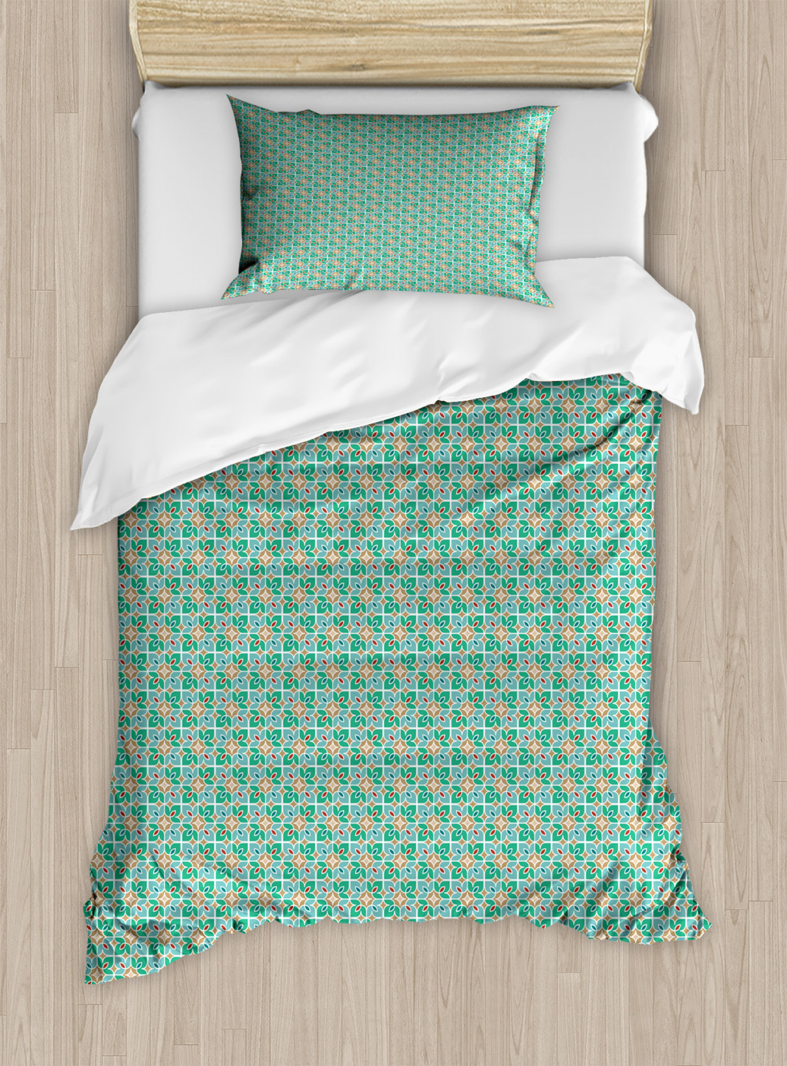 Teal-and-White-Duvet-Cover-Set-Twin-Queen-King-Sizes-with-Pillow-Shams-Ambesonne thumbnail 23
