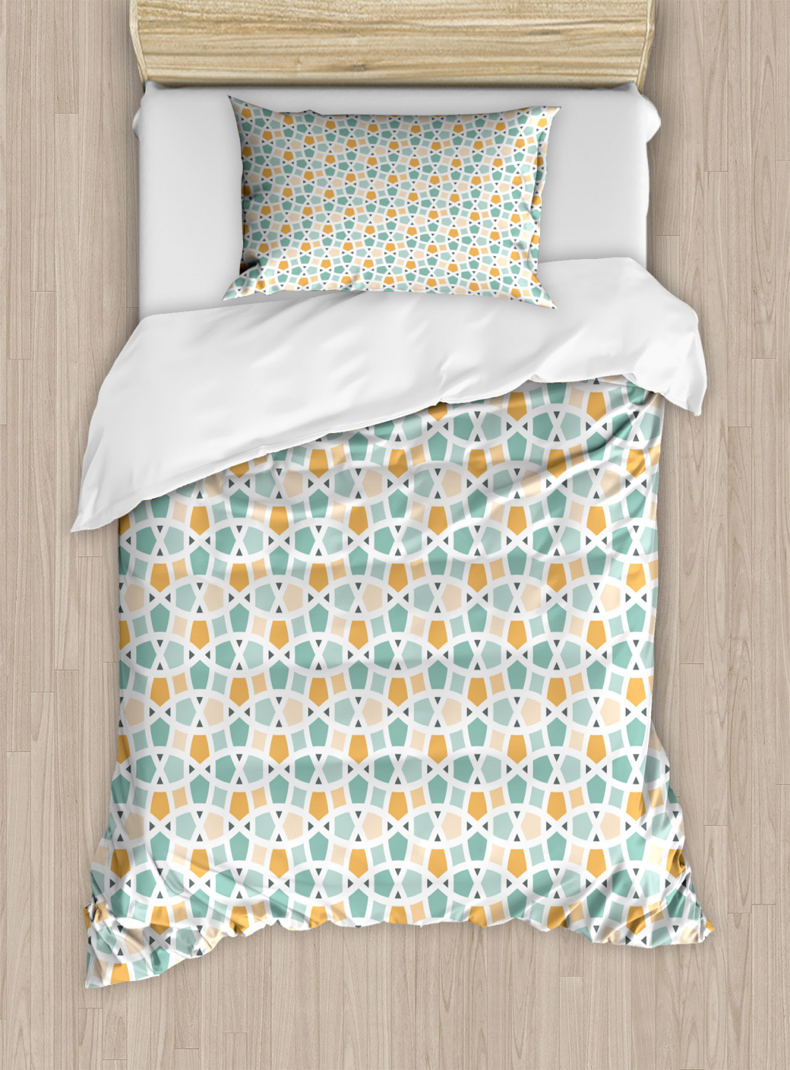 Teal-and-White-Duvet-Cover-Set-Twin-Queen-King-Sizes-with-Pillow-Shams-Ambesonne thumbnail 14