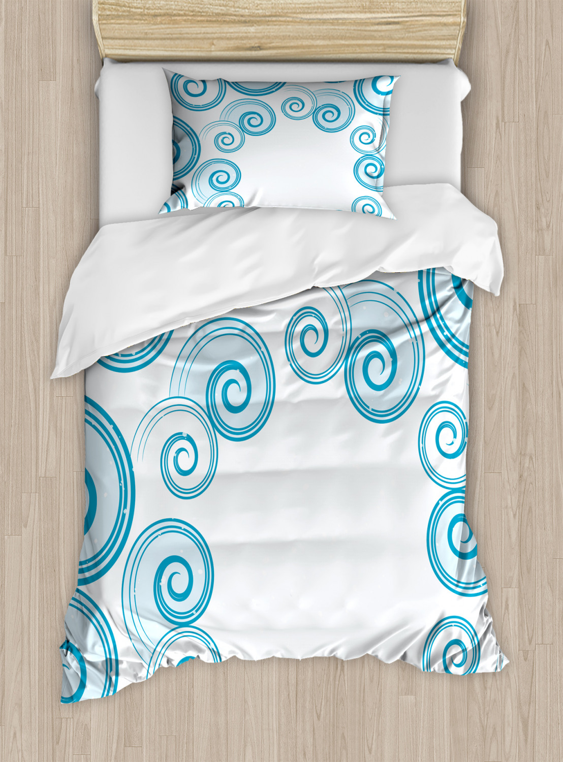 teal and white duvet cover set twin queen king sizes with pillow shams ambesonne ebay. Black Bedroom Furniture Sets. Home Design Ideas