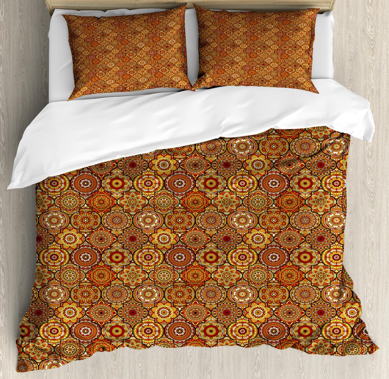 Moroccan Duvet Cover Set with Pillow Shams Floral Motifs Ott
