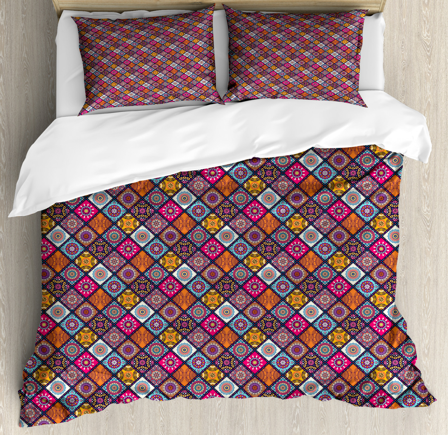 Moroccan Duvet Cover Set with Pillow Shams Folkloric Boho Flowers Print