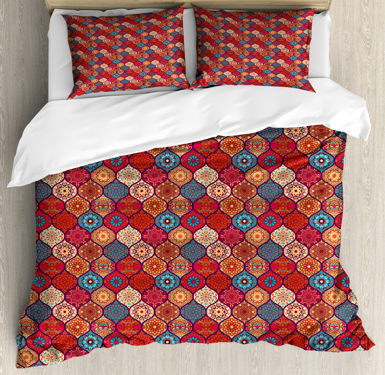 Moroccan Duvet Cover Set with Pillow Shams Oriental Wavy Natural Print