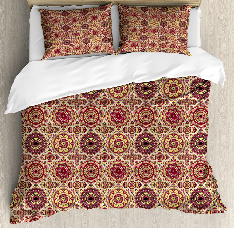Moroccan Duvet Cover Set with Pillow Shams Artful Bohemian F