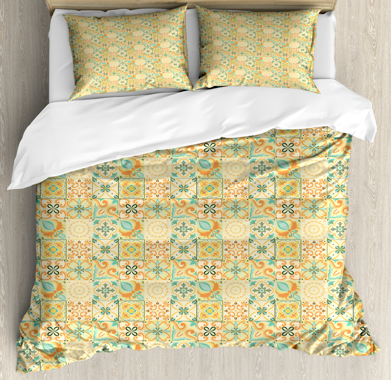 Moroccan Duvet Cover Set with Pillow Shams Italian Style Retro Print