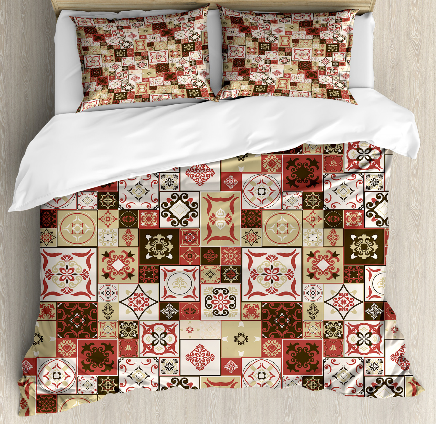 Mgoldccan Duvet Cover Set with Pillow Shams Vintage Square Pattern Print