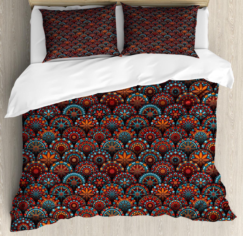 Mgoldccan Duvet Cover Set with Pillow Shams Scale Mandala Design Print