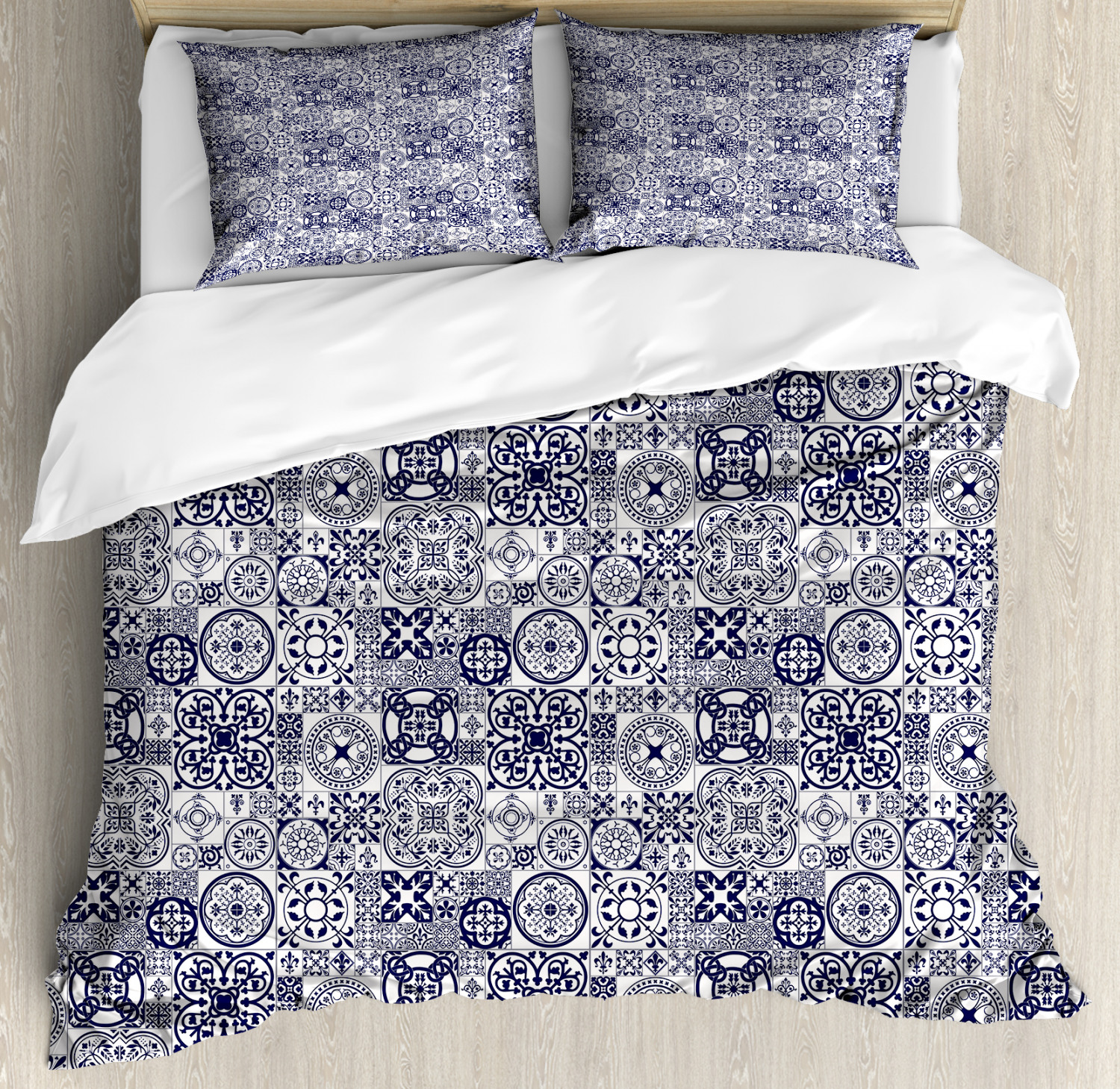 Mgoldccan Duvet Cover Set with Pillow Shams Doodle Ceramic Style Print