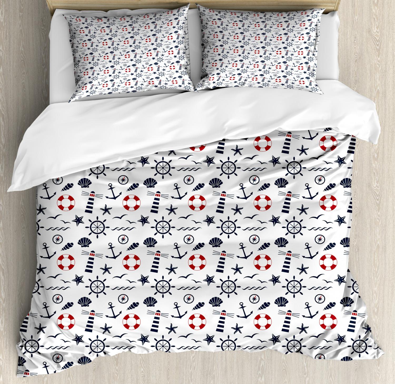 Lighthouse Duvet Cover Set with Pillow Shams Nautical Wave Helms Print