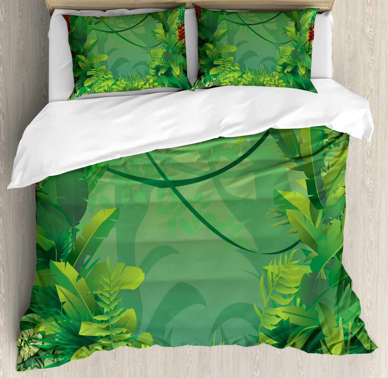 Green Leaf Duvet Cover Set with Pillow Shams Hawaiian Rainforest Print