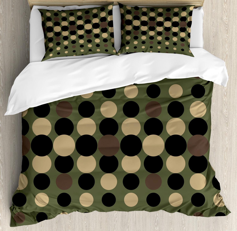 Olive verde Duvet Cover Set with Pillow Shams Halftone Circles Print