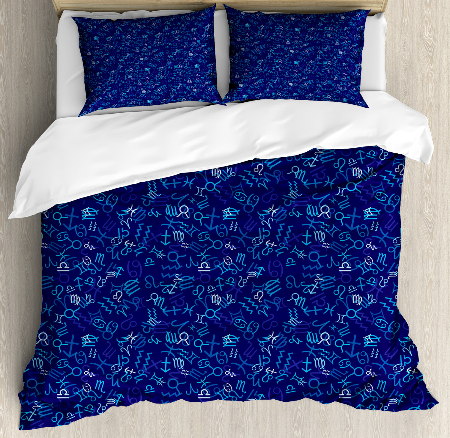 Astrology Duvet Cover Set with Pillow Shams Zodiac Icons in bluee Print