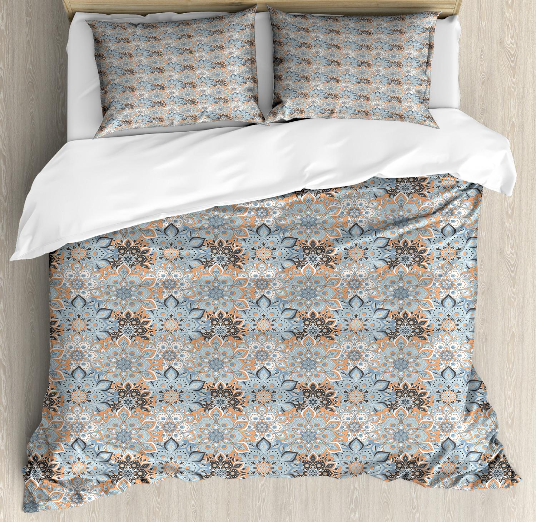 Mandala Duvet Cover Set with Pillow Shams Vintage Style Flourish Print