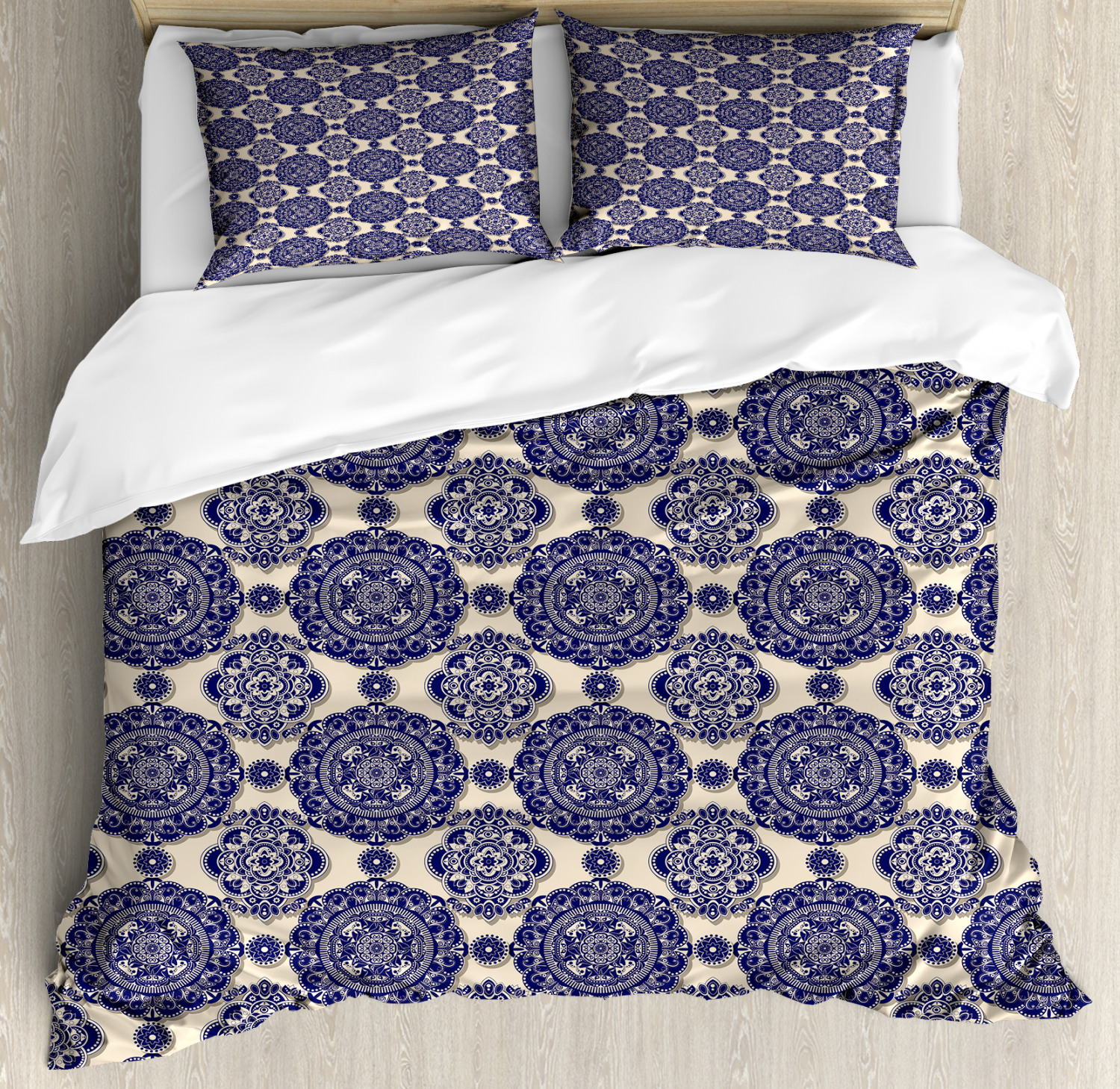 Mandala Duvet Cover Set with Pillow Shams Medieval Exotic Revival Print