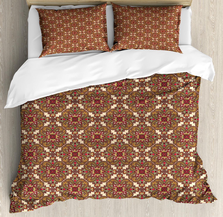 Mandala Duvet Cover Set with Pillow Shams Fantastic Flora Leaves Print