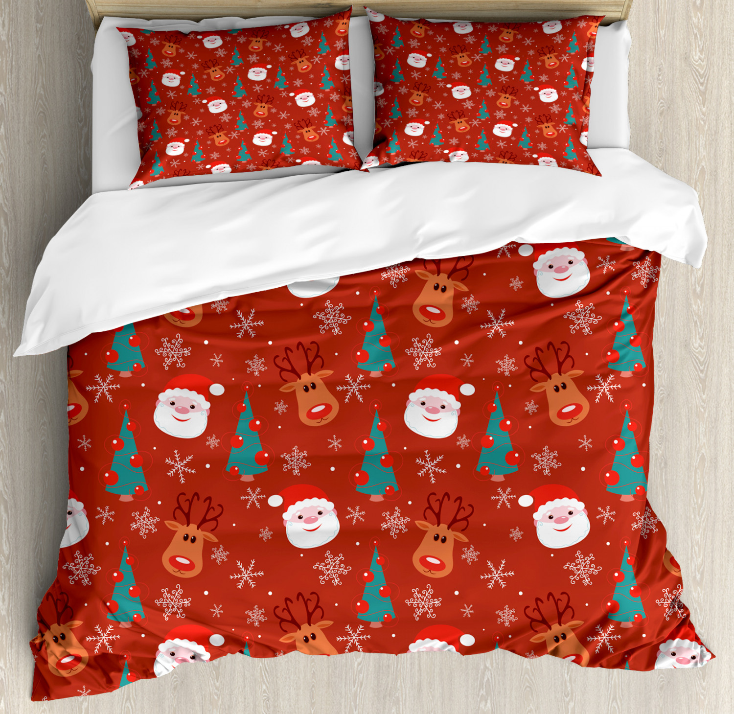 Red Duvet Cover Set with Pillow Shams Merry Xmas Cartoon Santa Print