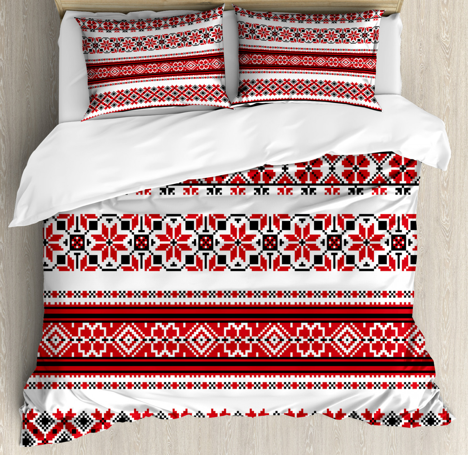 Red Duvet Cover Set with Pillow Shams Ukrainian Ethnic Accents Print