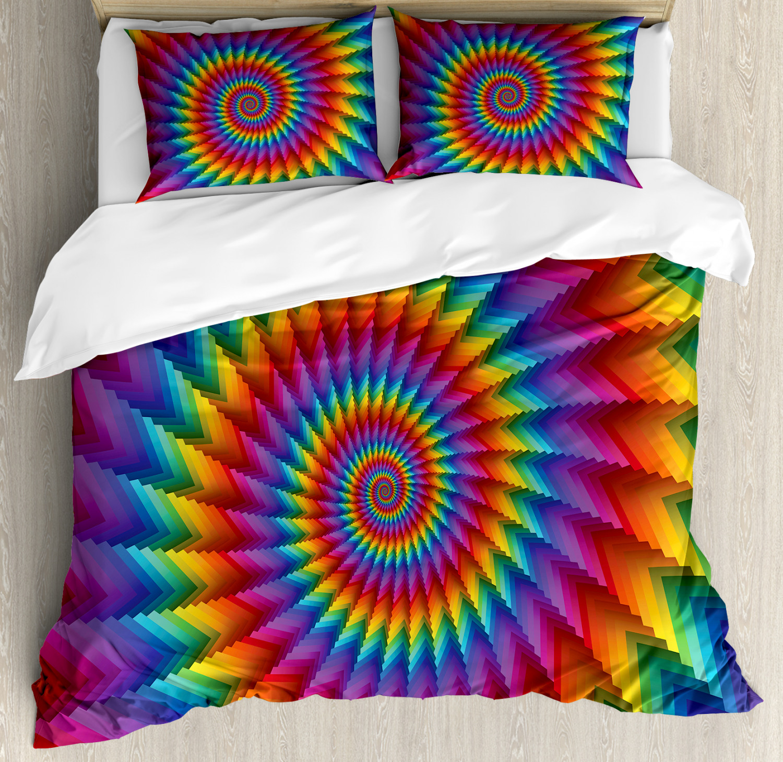 Trippy Duvet Cover Set with Pillow Shams Vibrant Rainbow Spiral Print