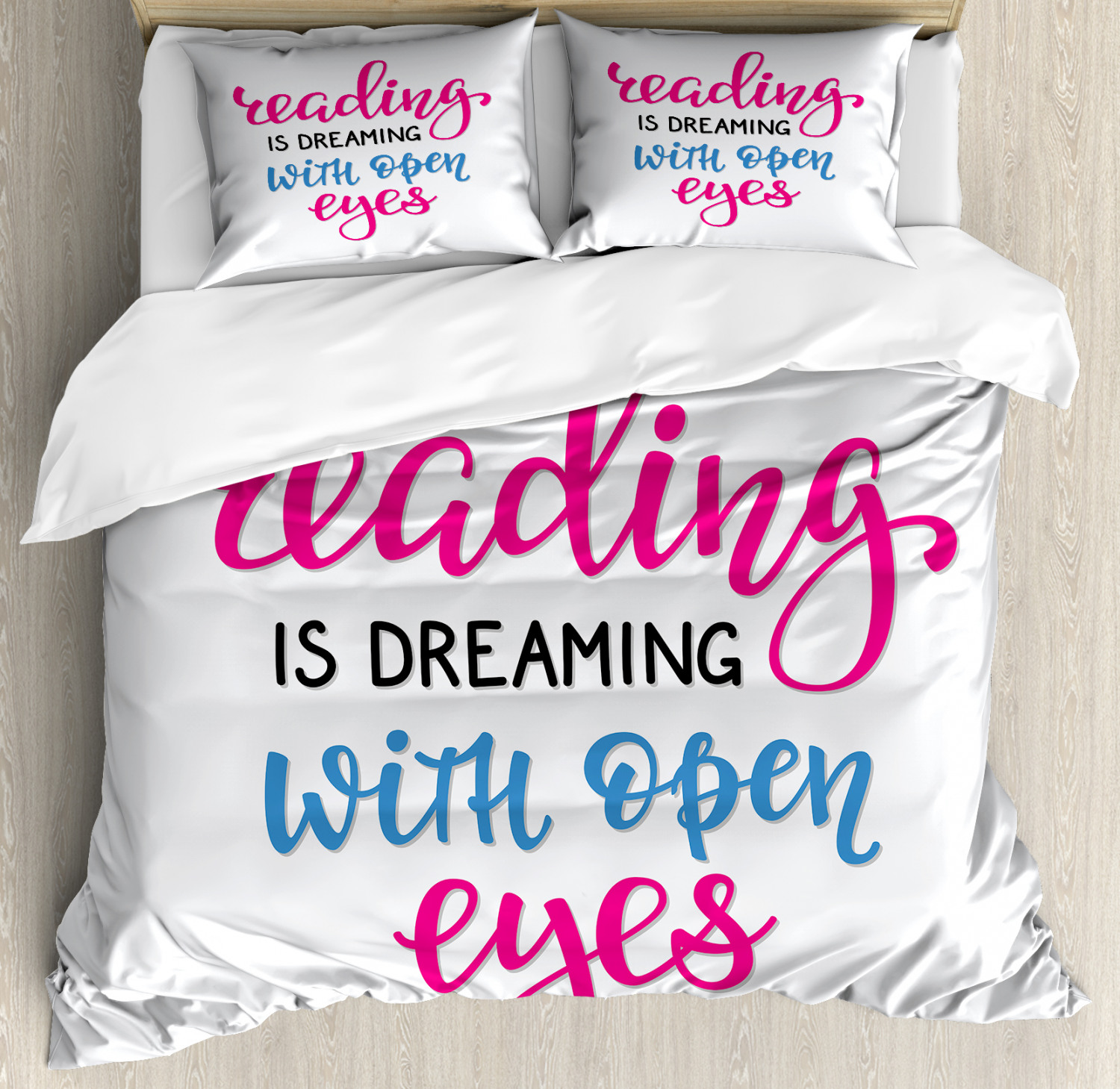 Book Duvet Cover Set with Pillow Shams Reading is Dreaming Q