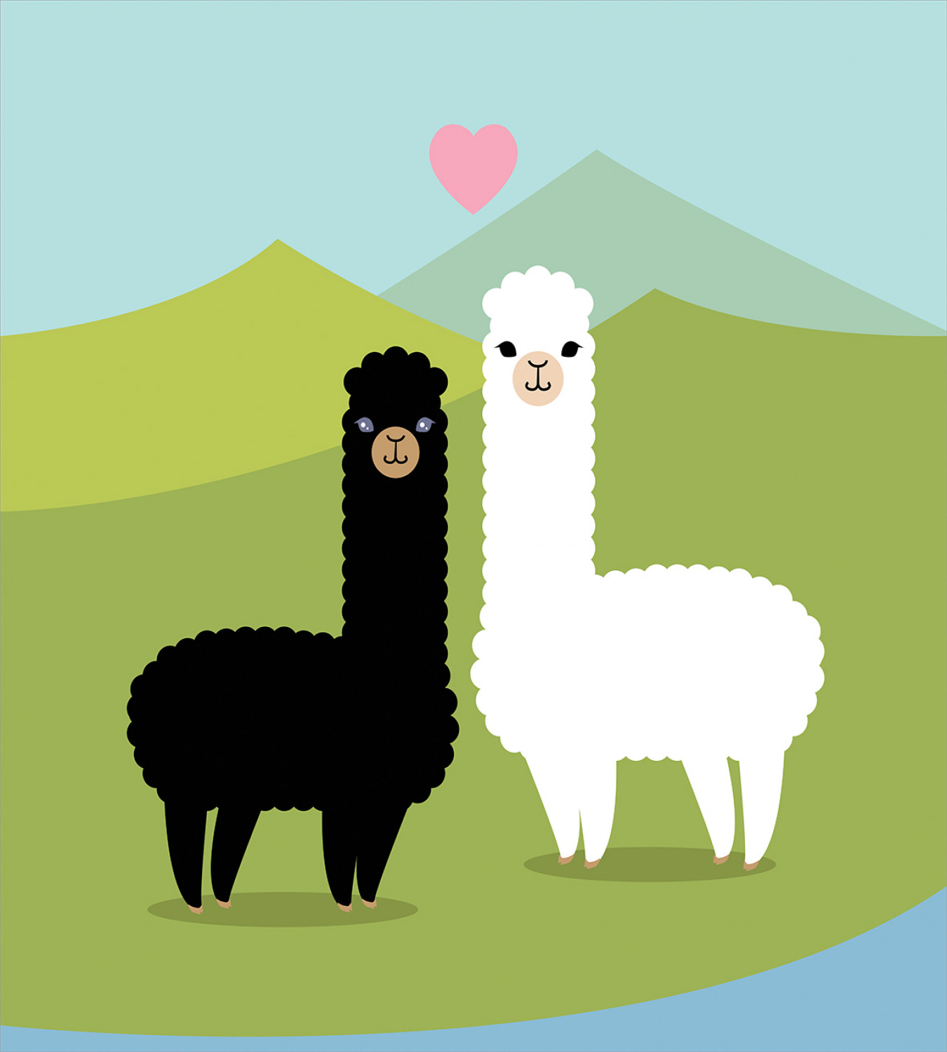 Llama-Duvet-Cover-Set-with-Pillow-Shams-Animals-in-Love-on-Hill-Print thumbnail 3