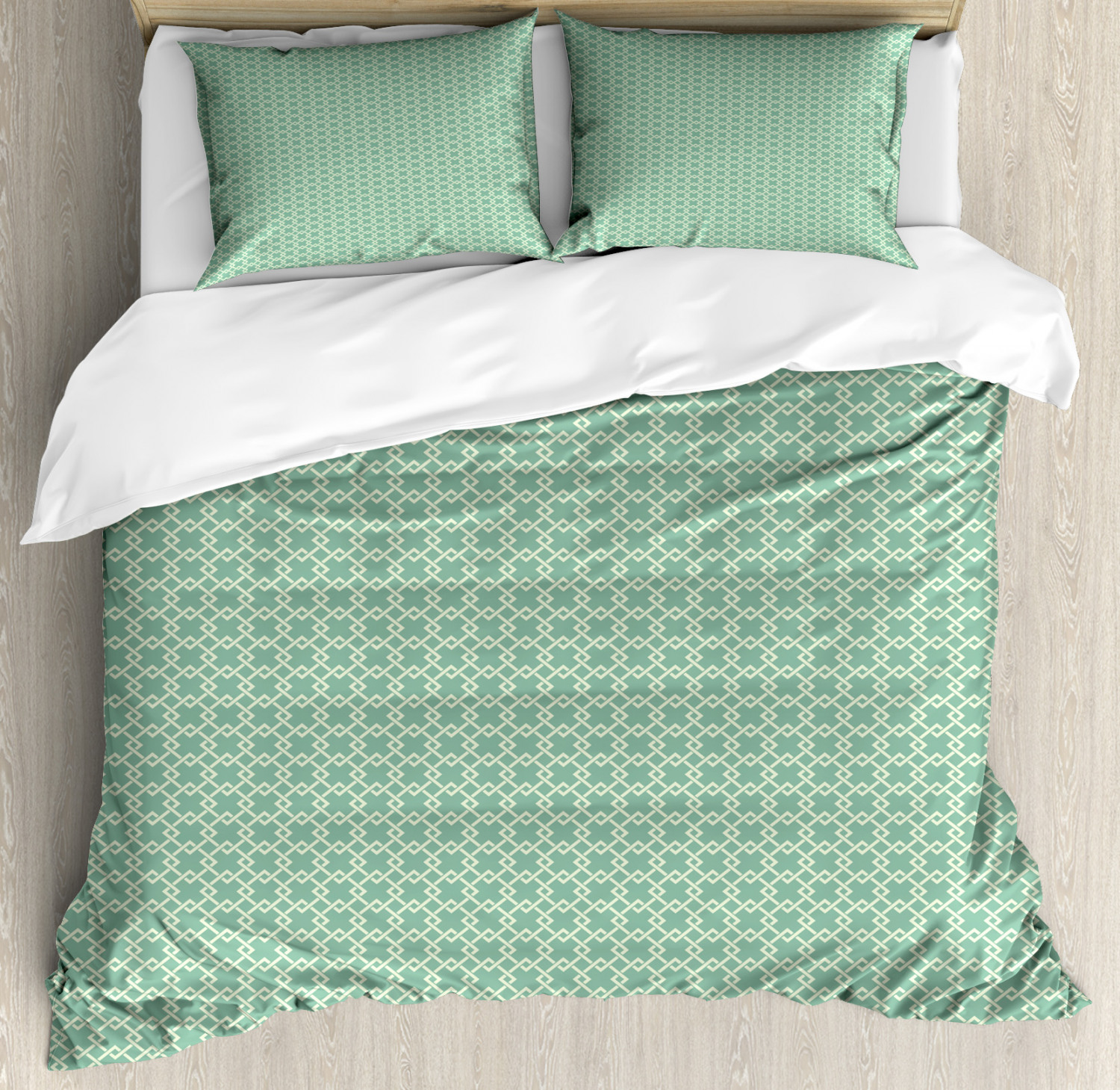 Abstract Queen Size Duvet Cover Set Retro Rhombus Motifs with 2 Pillow Shams
