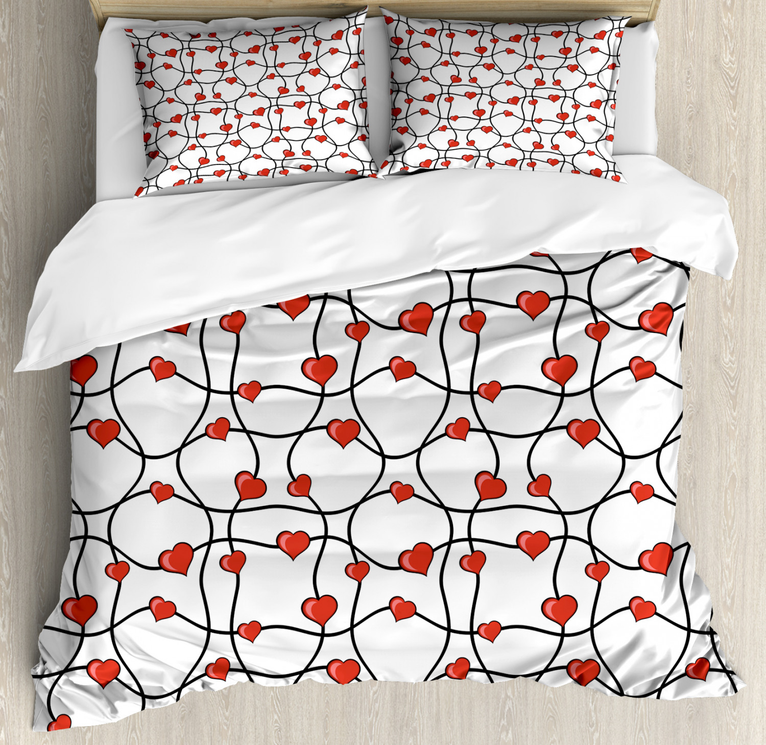 Valentines Duvet Cover Set with Pillow Shams Geometric Hearts Print