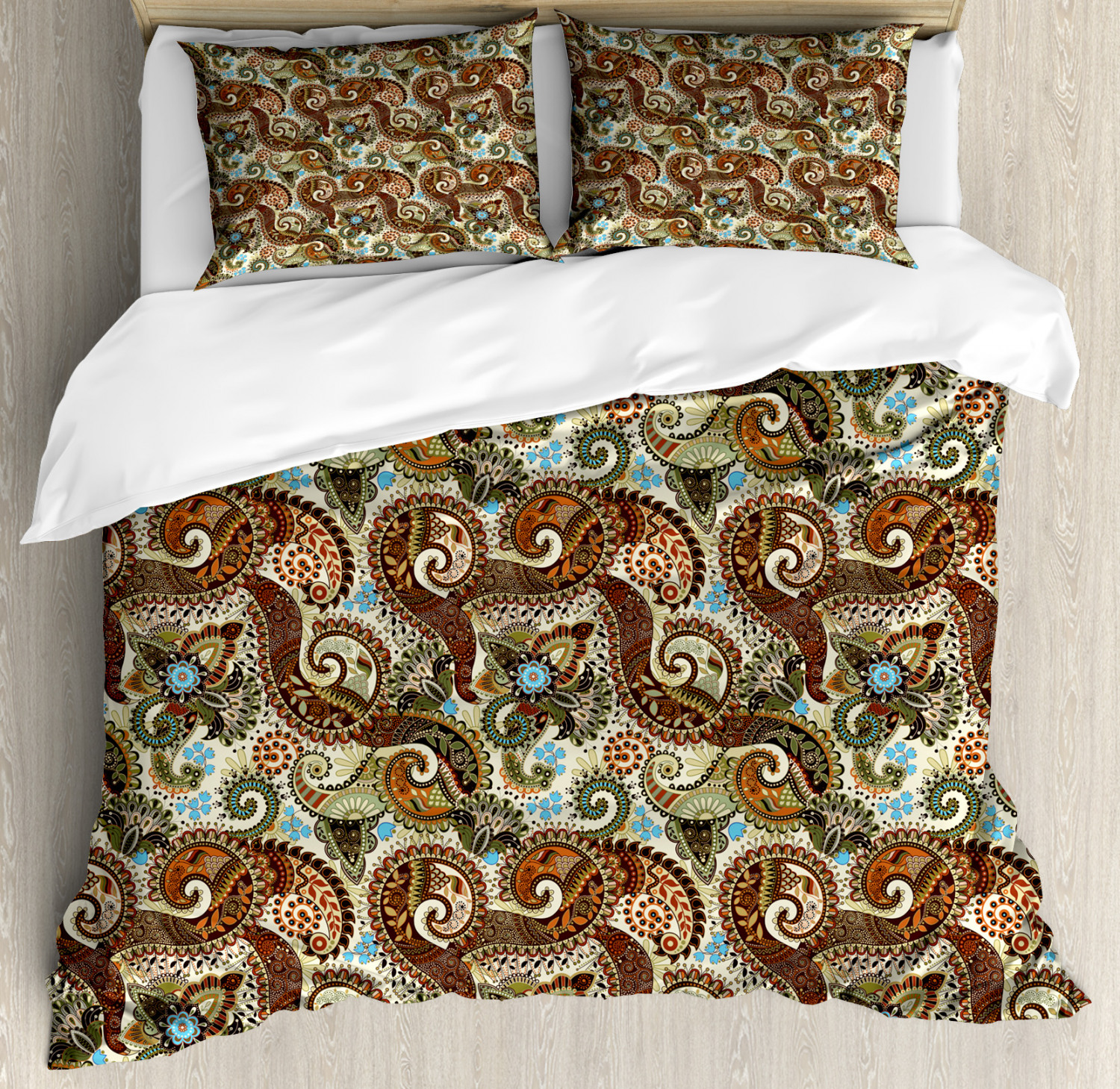 Paisley Duvet Cover Set with Pillow Shams Persian Teardrop Motif Print